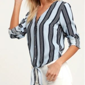 Lulus Cole Valley Blue Striped Tie Front Top
